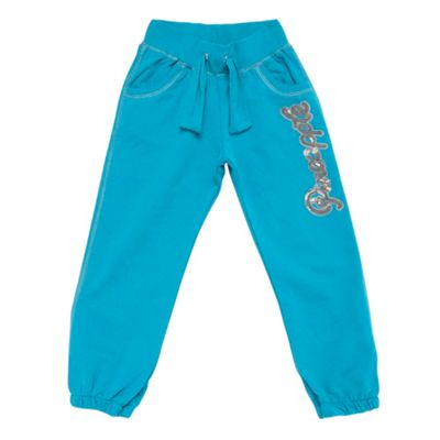 Girls Turquoise Sequinned Logo Jogging Bottoms