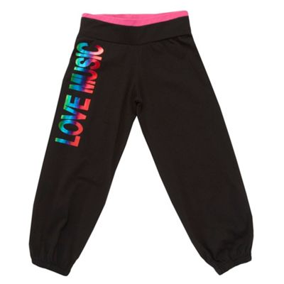 Girls Black Printed Jogging Bottoms
