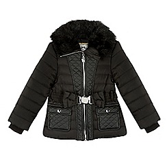 Star by Julien MacDonald - Designer girl's black faux fur collar padded coat