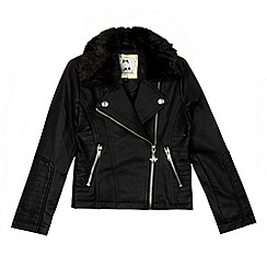 Star by Julien Macdonald - Designer girl's black faux fur biker jacket