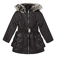 Star by Julien MacDonald - Designer girl's black quilted faux fur coat