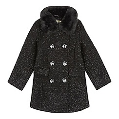 Star by Julien Macdonald - Girls' black textured faux fur collar coat