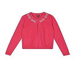 Star by Julien Macdonald - Designer girl's pink bow neck cardigan