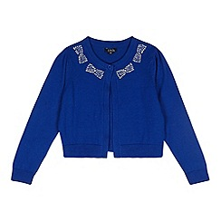 Star by Julien MacDonald - Designer girl's blue gem bow collar cardigan