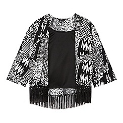 Star by Julien Macdonald - Designer girl's black fringed kimono and vest top set