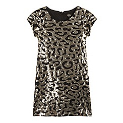 Star by Julien Macdonald - Girls' gold sequinned animal shift dress