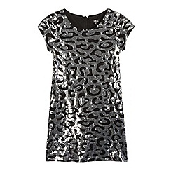 Star by Julien Macdonald - Girls' silver sequinned animal shift dress