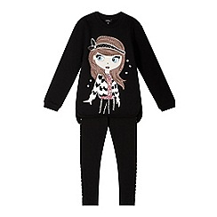 Star by Julien MacDonald - Designer girl's black girl print sweat top and leggings set