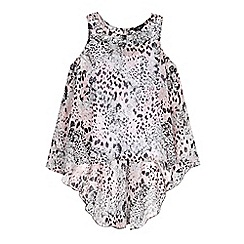 Star by Julien MacDonald - Designer girl's pink animal print jewel top