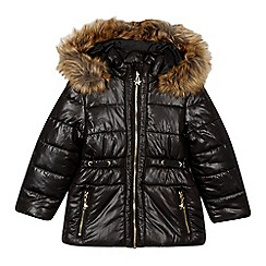 Star by Julien Macdonald - Girls' black padded faux fur trimmed hood jacket