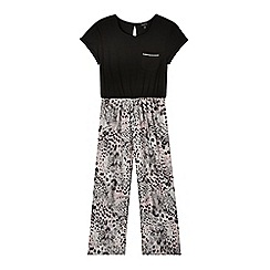 Star by Julien Macdonald - Designer girl's black animal print jumpsuit