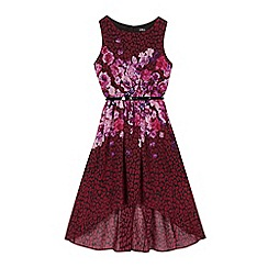 Star by Julien Macdonald - Girls' purple floral leopard print dipped hem dress