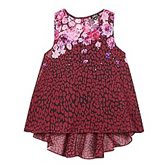 Star by Julien Macdonald - Girls' red floral high low blouse