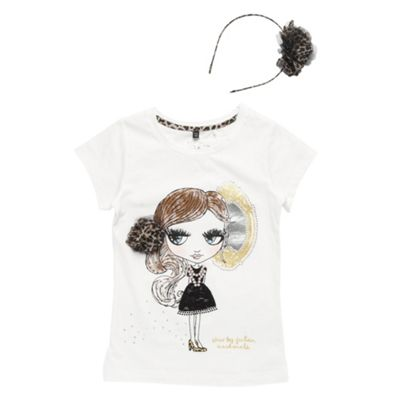 Girls Off White Rhinestone Illustration T-shirt