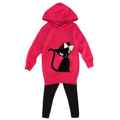 Girls Dark Pink Fluffy Cat Hoodie And Black Leggings