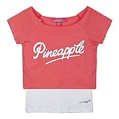 Pineapple - Girl's pink logo t-shirt and vest set