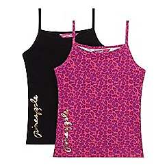 Pineapple - Pack of two girl's pink leopard and black plain vests