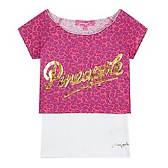 Pineapple - Girl's pink 2-in-1 leopard crop top and vest
