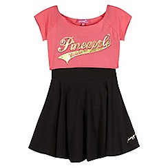 Pineapple - Girl's pink 2-in-1 crop top and skater dress
