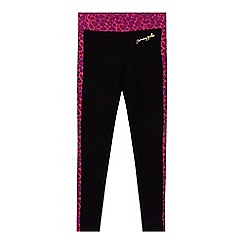 Pineapple - Girl's black leopard panel leggings