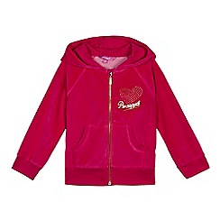 Pineapple - Girls' pink velour hoodie