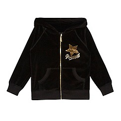 Pineapple - Girls' black velour logo zip through hoodie