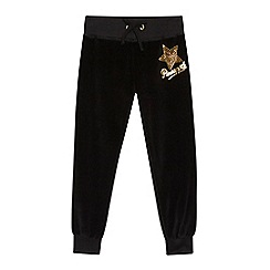 Pineapple - Girls' black velour logo jogging bottoms