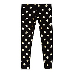 Pineapple - Girls' black star print leggings