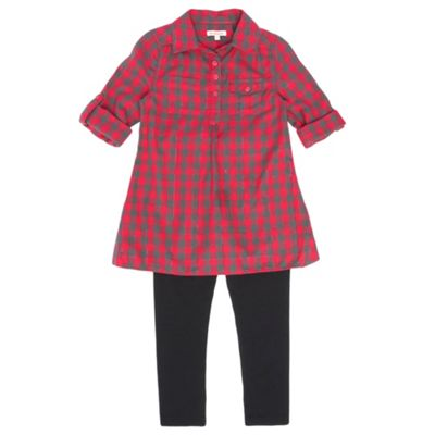 Girls Dark Red Check Shirt And Leggings Set