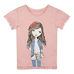 Mantaray - Girl's pink girl broderie t-shirt