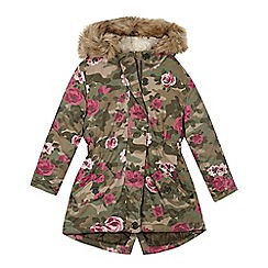 Mantaray - Girls' khaki floral camouflage parka coat
