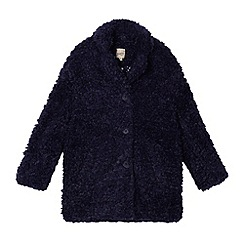 Mantaray - Navy faux shearling girls' coat