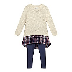 Mantaray - Girls' cream knit tunic and leggings set