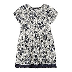 Mantaray - Girl's navy floral textured dress