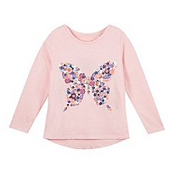 Mantaray - Girl's pink flower butterfly top