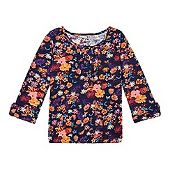 Mantaray - Girl's navy floral empire top