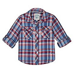 Mantaray - Girl's blue checked shirt