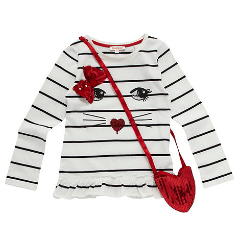 bluezoo - Girl+s white stripe top and bag set