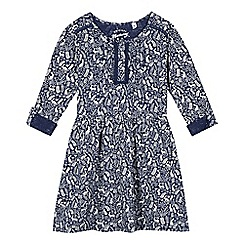 Mantaray - Girl's navy hare print jersey dress