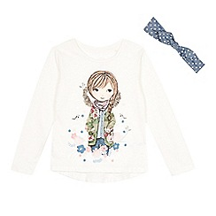 Mantaray - Girl's off white girl floral long sleeved top and headband