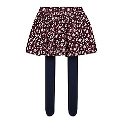 Mantaray - Girl's plum floral cord skirt with tights