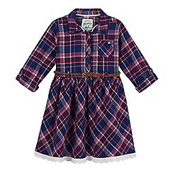 Mantaray - Girl's purple checked dress with plaited belt