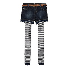 Mantaray - Girl's blue denim shorts, belt and striped tights set