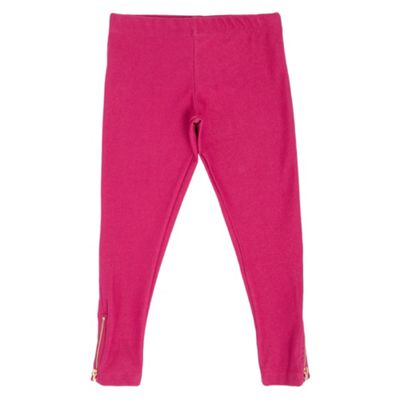 Girls Dark Pink Jersey Leggings