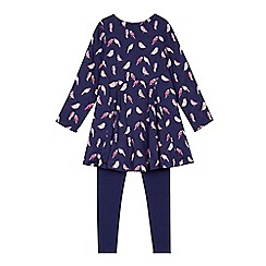 Mantaray - Girls' navy leggings and bird print dress set