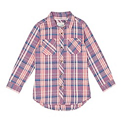 Mantaray - Girl's pink checked long sleeved shirt
