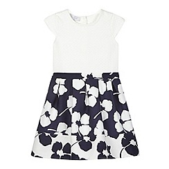 J by Jasper Conran - Designer girl's navy floral pique dress