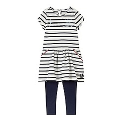 J by Jasper Conran - Designer girl's navy sequin striped tunic and leggings set