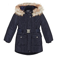J by Jasper Conran - Designer girl's navy padded coat with belt