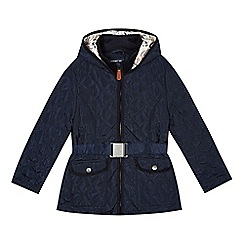 J by Jasper Conran - Designer girl's navy bow quilted jacket